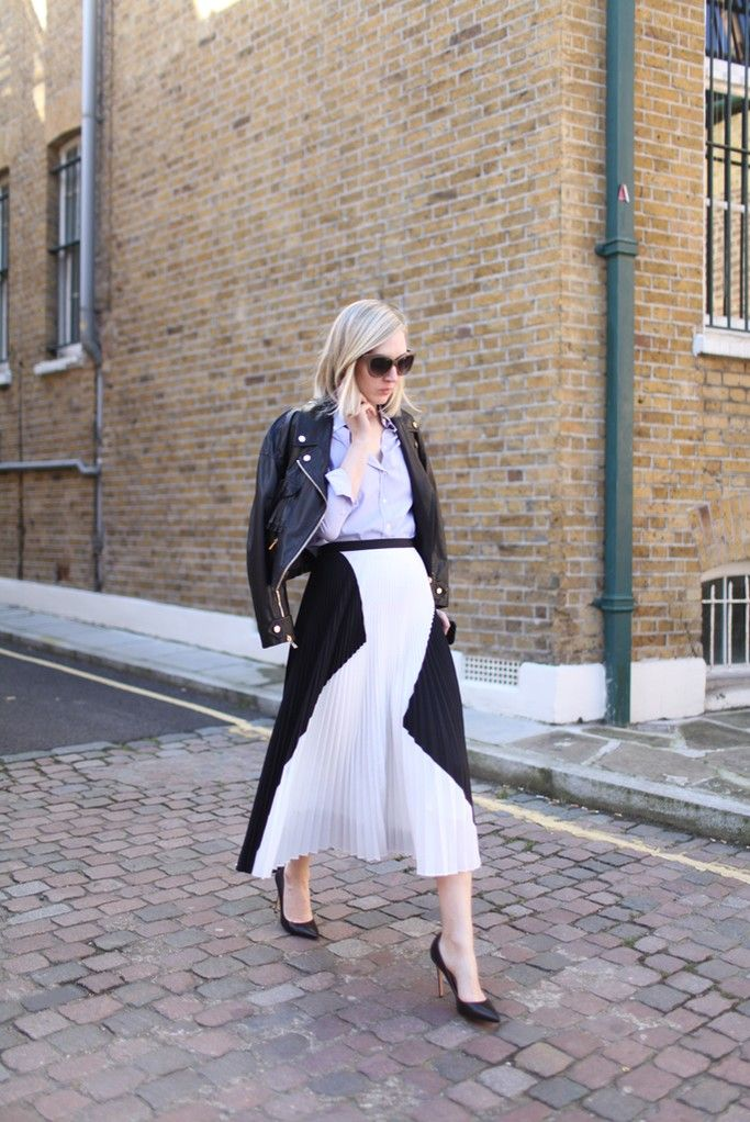 pleated-black-and-white-midi-skirt-black-leather-moto-jacket-black-pumps-jane-keltner-devalle-oxford-shirt-via-wwd