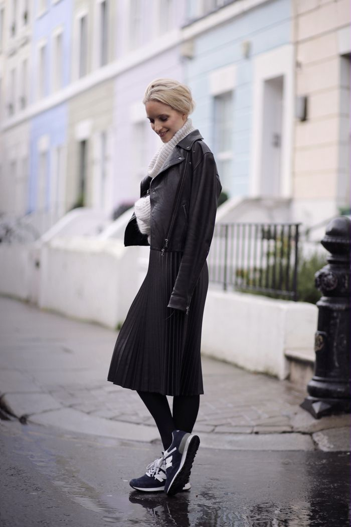 pleated midi skirt and trainers