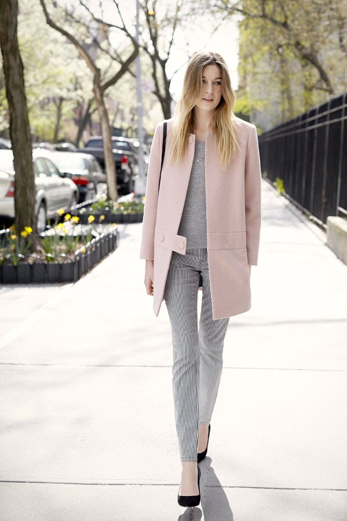 railroad-stripes-denim-jeans-pastel-pink-coat-fall-pastels-grey-black-pumps-via-camilleovertherainbow.com