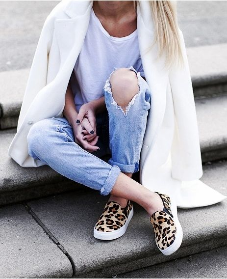 how to roll your jeans, denim styling, jeans ripped-jeans-rolled-jeans-white-tee-white-coat-leopard-print-sneakers-slip-on-sneakers-via-