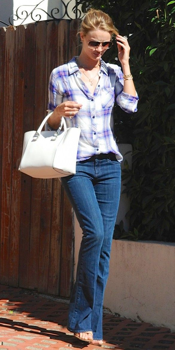 rosie-huntington-whiteley-flare-jeans-flannel-plaid-shirt-via-whowhatwear