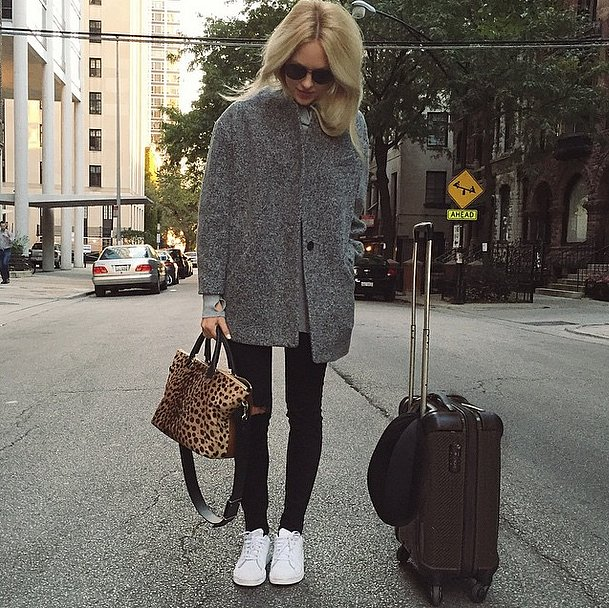 what to wear to fly, airport outfit, suitcase, sneakers, travel