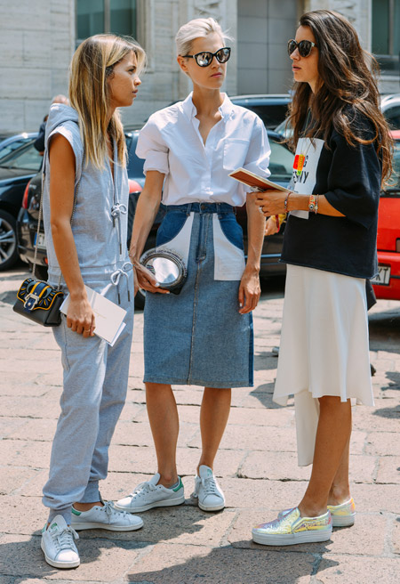 adiddas sneakers, gold metallic sneakers, slip-on sneakers, white skirt, fall whites, denim skirt, oxford, denim skirt, denim pencil skirt, jumpsuit, asymmetrical skirt, sneakers and skirts, fall, spring