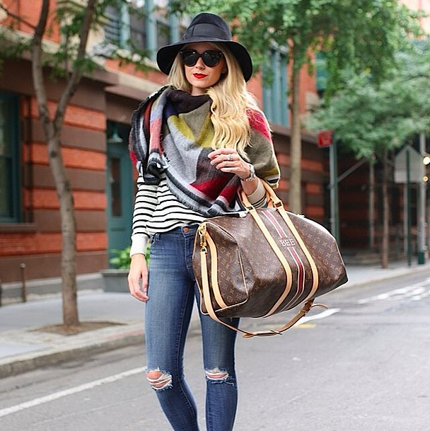 what to wear to fly, airport outfit, striped tee, weekender, blanket scarf