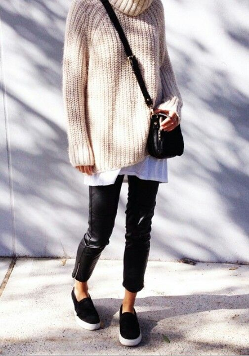 turtleneck-sweater-skinny-black-pants-slip-on-sneakers-oversized-sweater-weekend-casual-via-pinterest