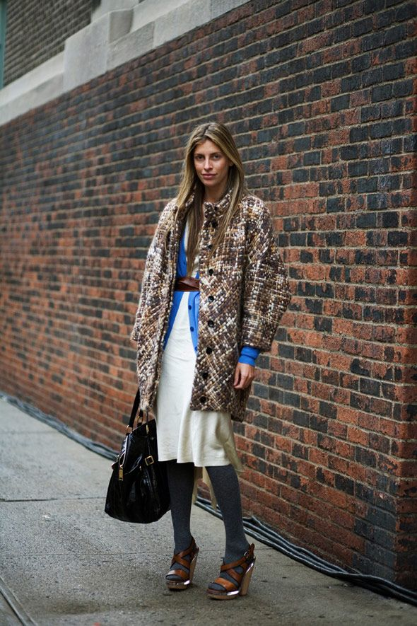 valerie-boster-fall-transitional-dressing-layers-layering-white-dress-summer-dress-in-fall-tweed-coat-tights-and-sandals-fall-whites-via-thesartorialist.com