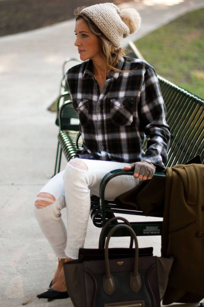 white-jeans-distressed-denim-fall-whites-plaid-flannel-shirt-fingerless-gloves-beanie-fall-via-harpers-bazaar