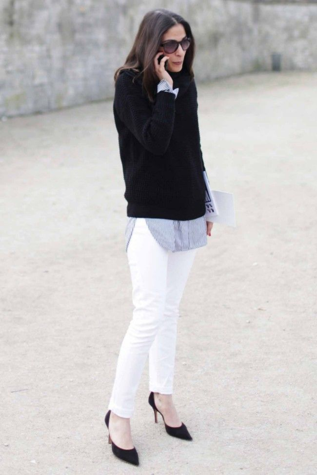 white-jeans-fall-whites-black-pumps-striped-oxfords-black-turtleneck-sweater-chunky-sweater-french-style-french-editors-fall-whites-via-vogue.com.au