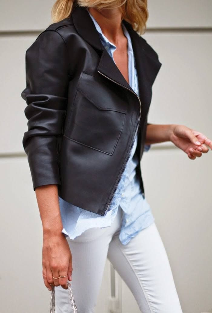 white-jeans-fall-whites-blue-oxford-black-leather-moto-jacket-via-pinterest