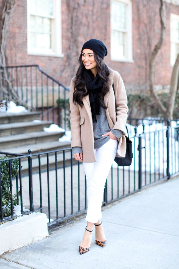 white-jeans-fall-whites-grey-sweater-tan-camel-coat-ankle-strap-heels-leopard-print-heels-animal-prints-fallneutrals-scarf-blogger-via-with-love-from-kat