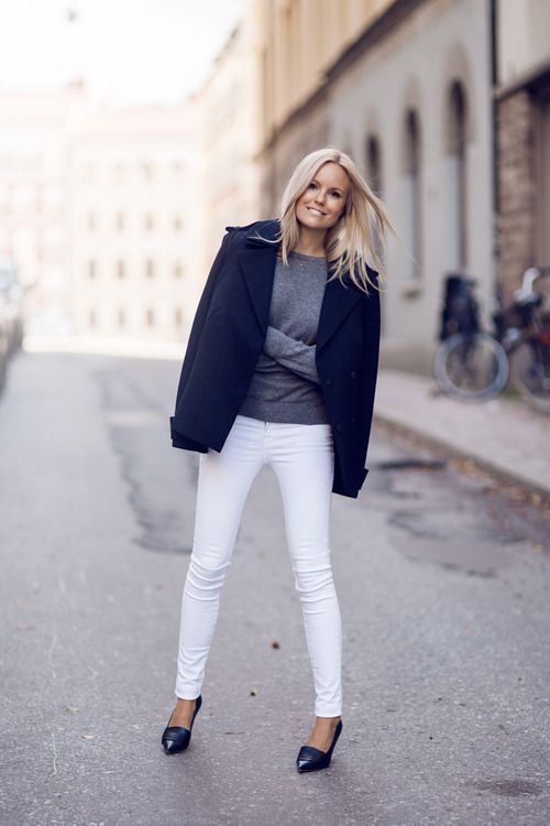 white-jeans-fall-whites-navy-pea-coat-grey-sweater-via-hairstylestuff.com