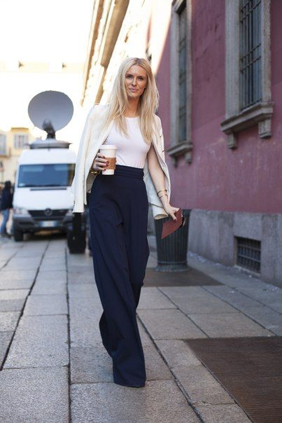 editor style, editors, wide leg pants, white and navy, cardigan, white blazer, fall, spring