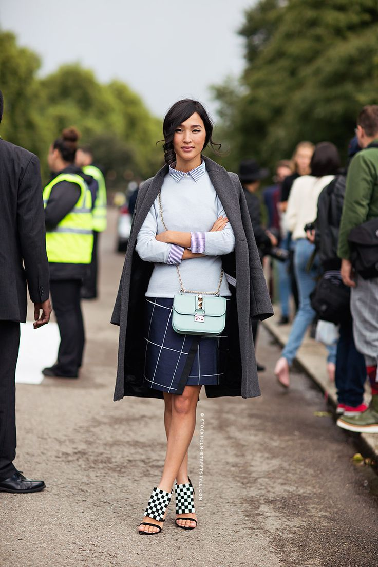 windowpane-prints-fall-pastels-navy-grey-mixed-prints-mini-purse-bag-wrap-skirt-via-stockholm-streetstyle.com