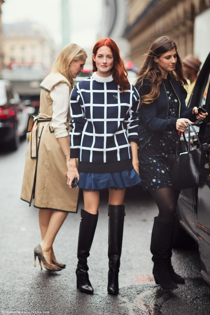 windowpane-prints-graphic-navy-and-black-taylor-tomassi-hill-over-theknee-boots-pleasted-mini-skirt