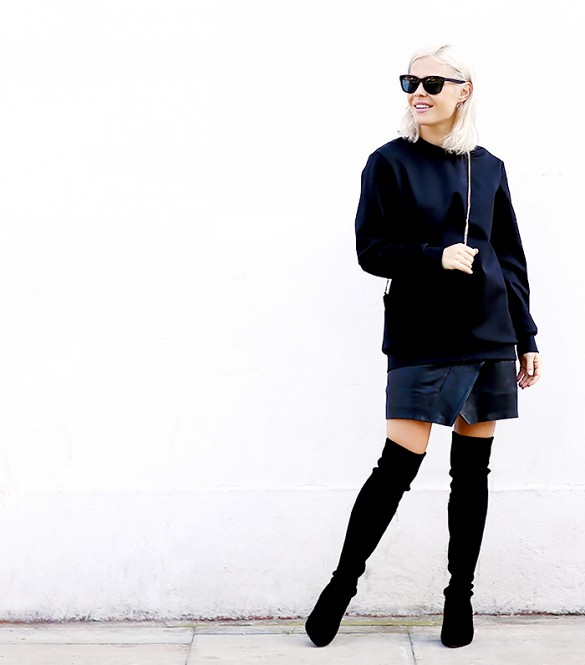 we the people, over the knee thigh high boots, black leather mini skirt, wrap skirt, mens oversized sweater, all black