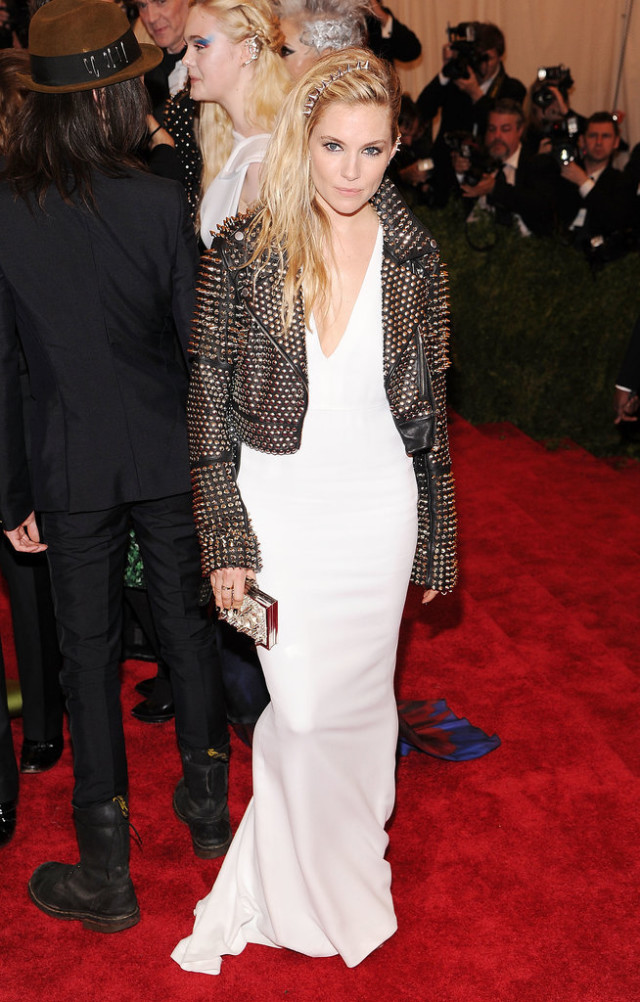 sienna miller, studded leather jacket, white gown, met gala, punk