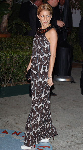 sienna miller, long printed maxi dress, beaded collar, summer party