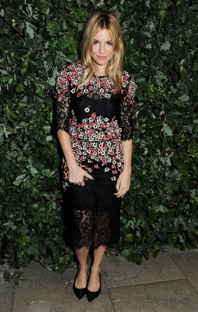 sienna miller, floral lace dress, sheer, black lace, midi dress