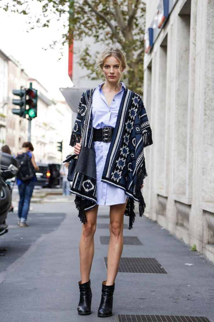 blanket-coat-shirt-dress-anle-boots-fall-via-fashionmagazine.com
