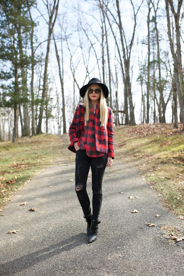 buffalo-plaid-checkered-plaid-shirt-flannel-shirt-weekend-distressed-black-denim-hat-fall-winter-via-atlantic-pacific