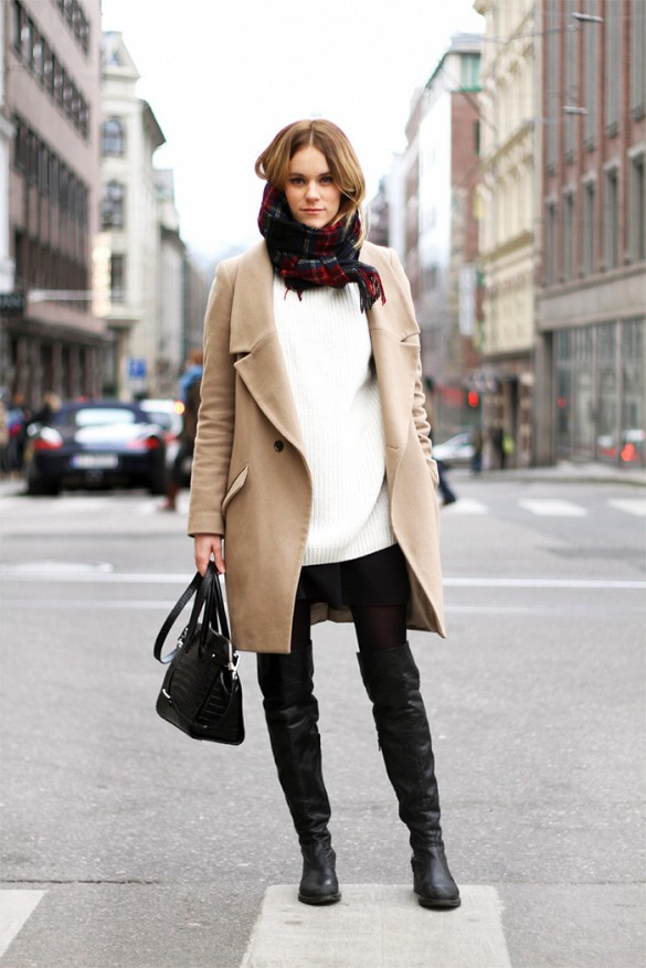 black and white, over the knee thigh high boots, camel coat, fall neutrals, black mini skirt, pleated skirt, plaid scarf, black and white, fall neutrals, winter work outfits