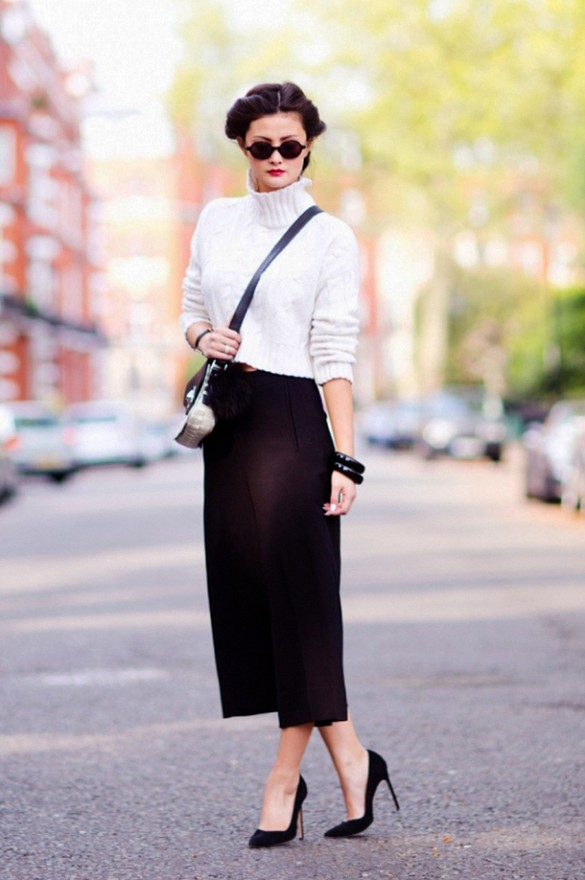 outfit ideas: culottes and turtleneck sweaters, winter outfits, fall outfits