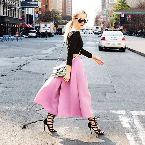 elle strauss, cage heels, pink midi skirt, crop top, bubblegum pink