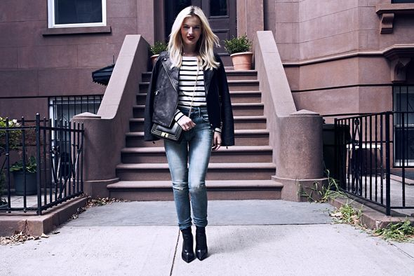 chelsea boots, winter outfit, ankle boots, booties, elle strauss, striped tee, cropped jeans and booties, moto jacket, leather jacket