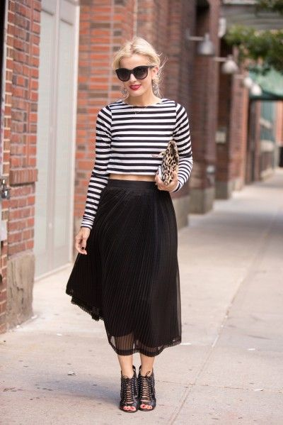 elle strauss, cage booties, midi skirt, striped crop top, leopard print clutch, sunglasses, work, going out, night out