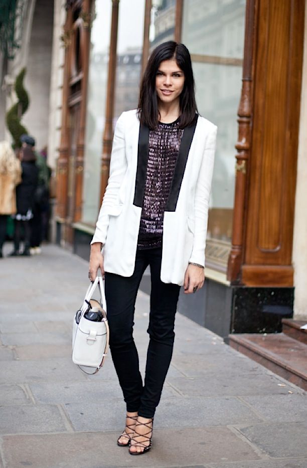 3665300d4fccb emily weiss, white tuxedo blazer, sequined top, black skinnies, white bag,
