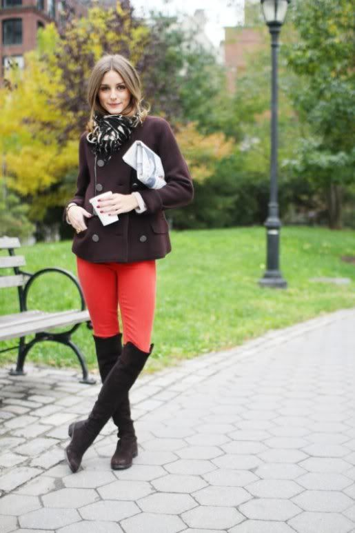 fall-layers-red-pants-brown-coat-scarf-over-the-knee-boots-olivia-palermo-via-whowhatwear