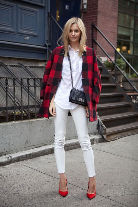 Sara Kerens, Tula Vintage, Jessica Stein, fall whites, winter whites, plaid coat, jacket, outerwear, white jeans, casual, weekend, quilted chanel bag