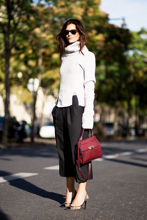 outfit ideas: culottes and turtleneck sweaters, winter outfits, fall outfits, work outfits