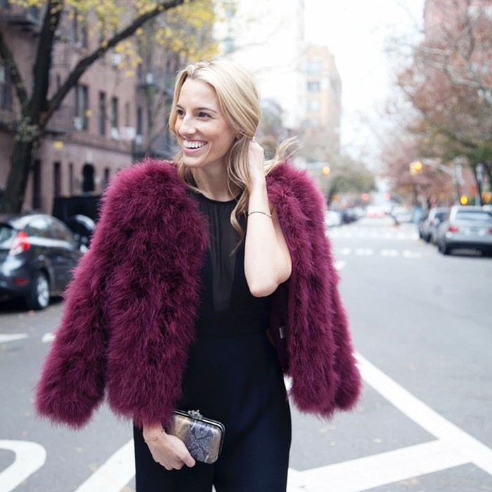 what to wear to holiday parties, colored fur, winter party dressing