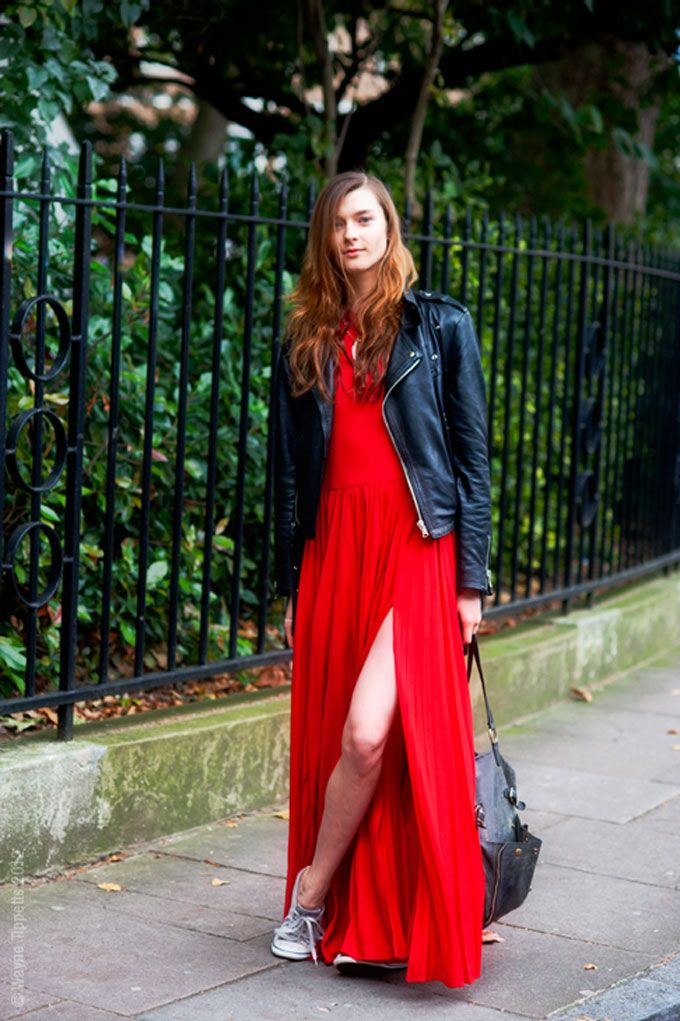 red maxi dress, moto jacket