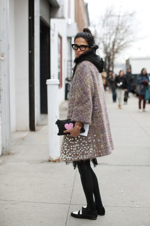 what to wear to holiday parties, holiday-statement-coat-winter-geek-glasses-via-prettystuff.tumblr.com