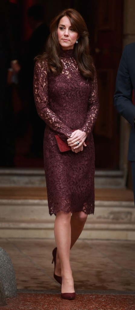 holiday party outfit, sequined dress, party dress, black tie, burgundy lace dress, kate middleton