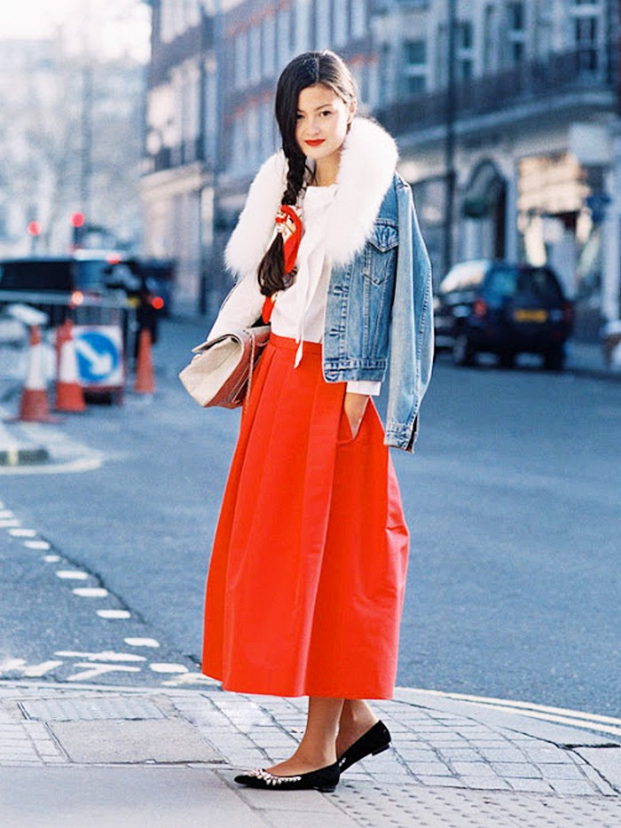 long-red-midi-skirt-long-midi-skirt-denim-jacket-fur-scarf-quilted-bag-flat-flats-holiday-party-going-out-evening-flats-via-vanessa-jackman