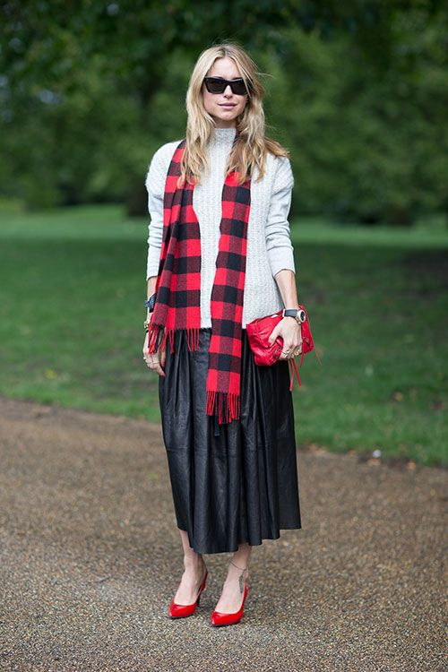 via harpers bazaar, leather pleated midi skirt, sweaters and skirts, lumberjack plaid, red checkered scarf, plaid scarf, red bag, red pumps, fall, winter
