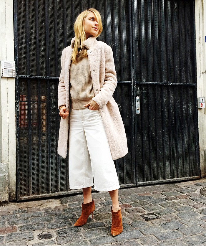 culottes, turtlenec sweater, furry coat, mules, pernille,