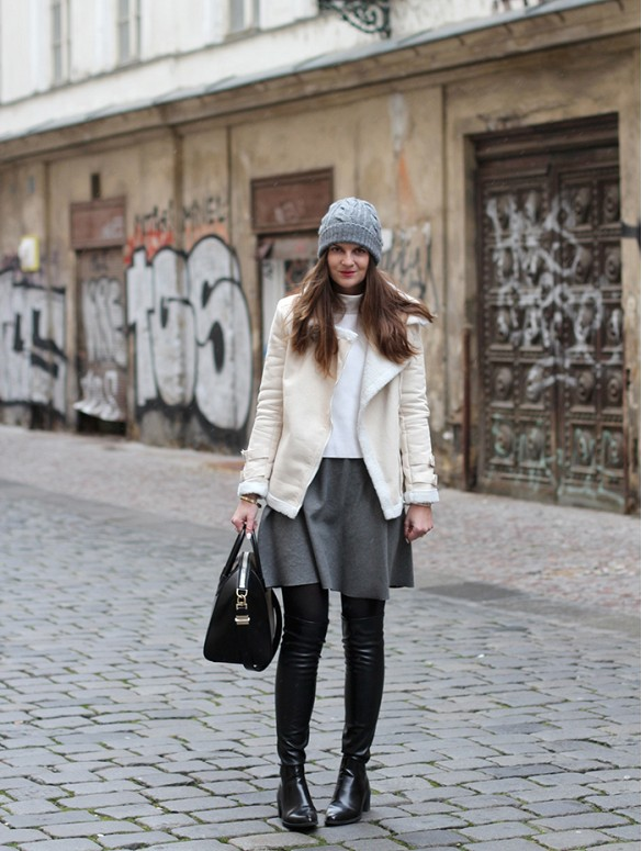 over-the-knee-boots-grey-gray-mini-skirt-shearling-jacket-moto-jacket-winter-whites-cream-ivory-winter-fall-neutrals-beanie-winter-layers-