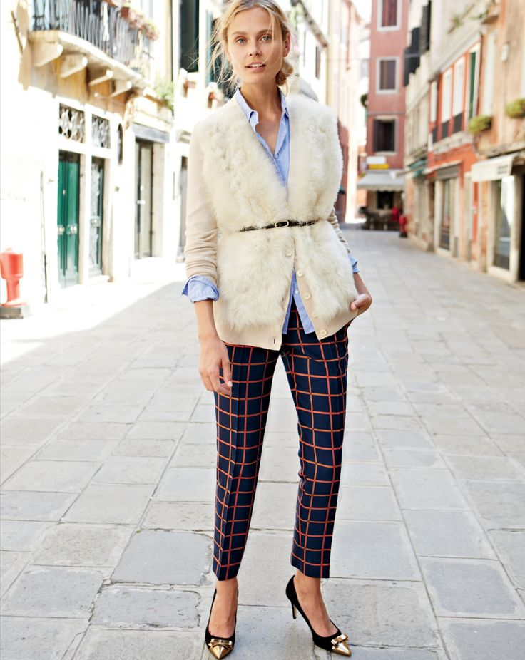 what to wear to holiday parties, furry cardigan belted sweater, button up oxford shirt, plaid pants, windowpane print