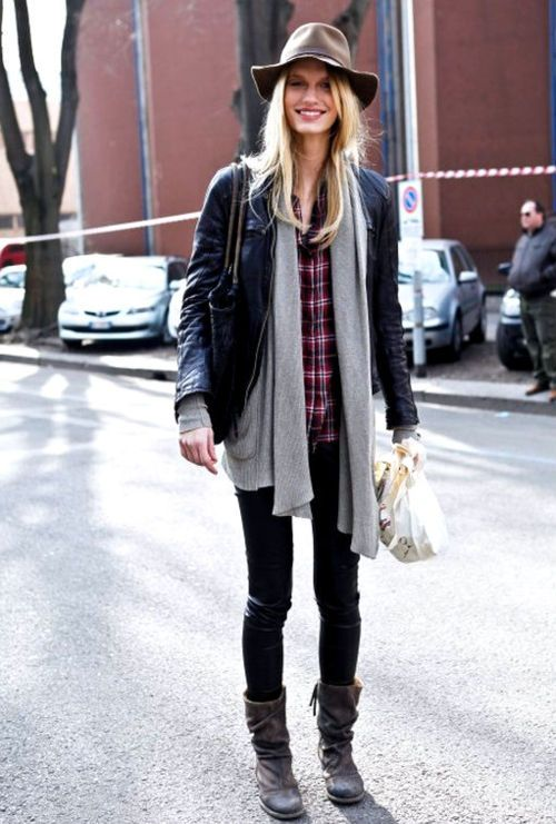 plaid-shirt-wide-brim-hat-flannel-shirt-black-leather-moto-jacket-grey-cardigan-black-jeans-fall-layers-weekend-via-lemademoiselleuk.tumblr.com