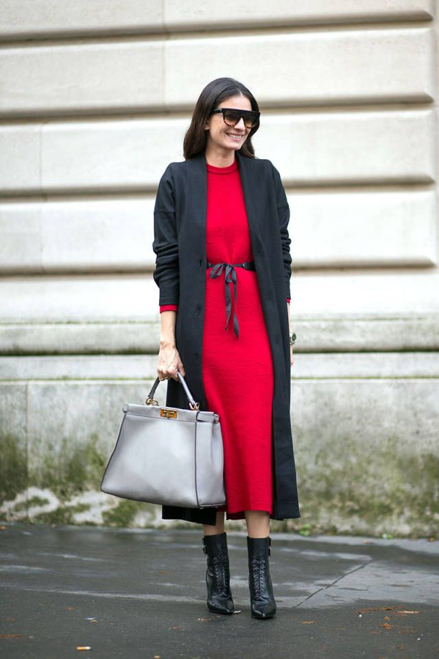 what to wear to a holiday party, what to wear to your office holiday party, winter outfit, party outfit, belted red dress, duster coat, socks,
