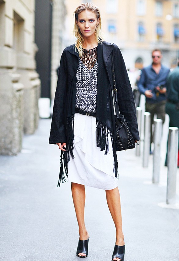 fringe, white dress, sweaters over dresses, mesh, remix your wardrobe, white skirt, black and white, fringe jacket, studded bag, black and white, mules
