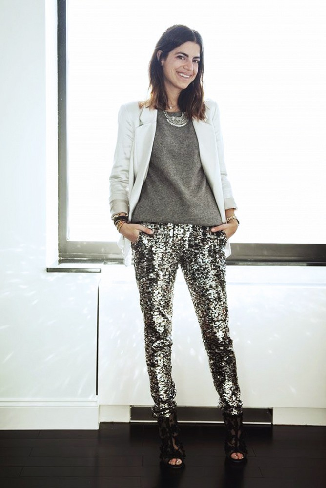 christmas outfit, sequined pants, white blazer, statement necklace, leandra medine