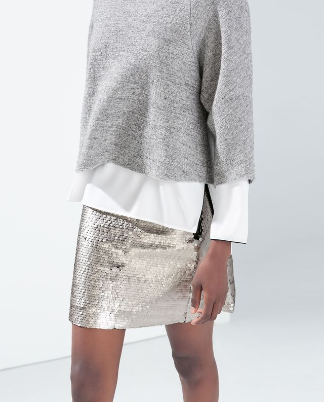 what to wear to holiday parties, sequined skirt, grey sweater sweatshirt