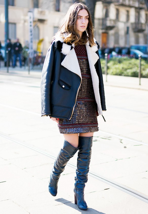 over the knee thigh high boots, shearling leather coat, metallic embellished dress, style du monde