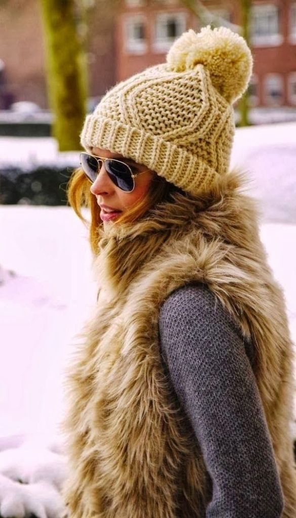 fur vest, pom pom hat, beanie, aviator sunglasses, grey sweater, winter outfit, fall layering