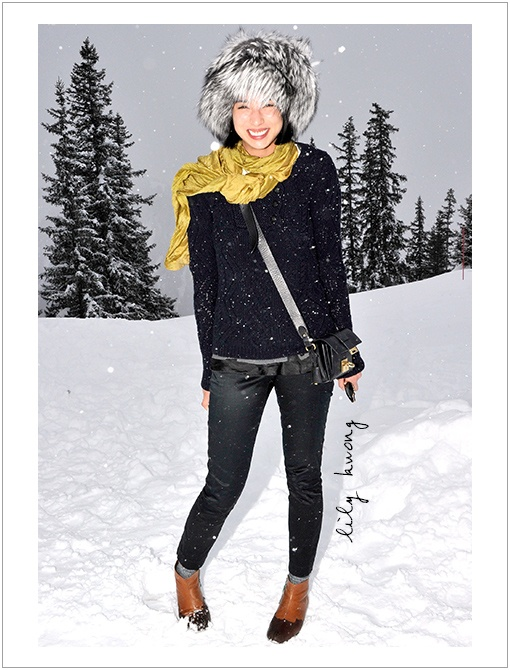 what to wear for apres ski, ski outfit, winter outfit, snow outfit, fur trapper hat, black skinnies, black sweater, yellow scarf